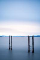 Long exposure of poles lake neusiedlersee in Burgenland