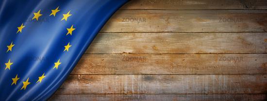 European union flag on vintage wood wall banner