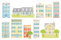 a group of different houses,  cut out - neutral background,