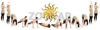 Sequence of the sun salutation with a sun symbol, surya namaskar
