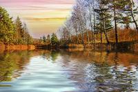Amazing beautiful reflections and sunset