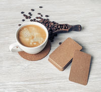 Kraft business cards, coffee