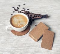 Kraft business cards, coffee