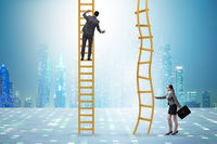 Concept of unequal career opportunities between man and woman