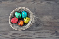Easter eggs and nest