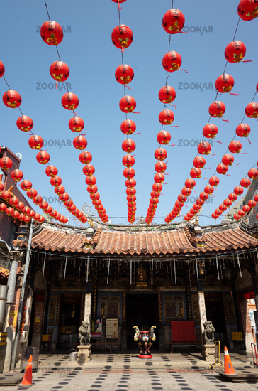 red lanterns hang over on Cheng huang Temple