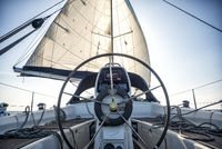 steering wheel on a sailing yacht