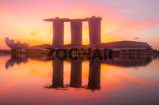 Marina Bay and Sand SkyPark at Dawn