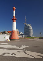 Willy-Brandt-Platz with lighthouse Unterfeuer and Atlantic Hotel Sail City, Bremerhaven, Bremen, Ger