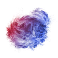 Abstract colorful dust cloud on a white background.