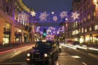 Taxi cab in Regent street at Christmas.
