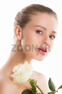 Woman with rose on white