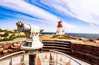 Observation telescope with Lindesnes Lighthouse