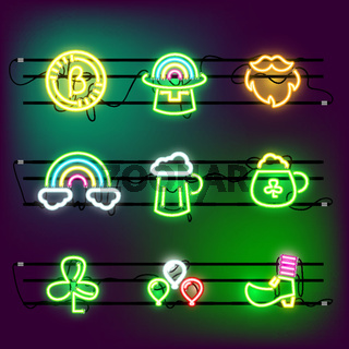 St Partricks Day icon set neon effect