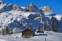 Skiing on Sella Ronda beneath the Sella mountain range, Corvara, Alta Badia, Dolomites,Italy