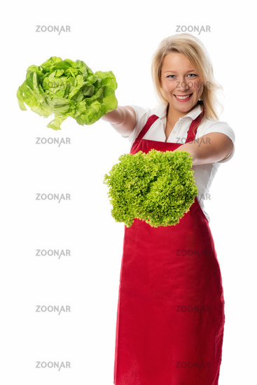 blonde woman presented salad heads