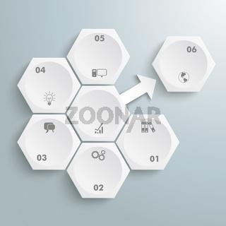 6 White Hexagons 1 Arrow Outsource PiAd