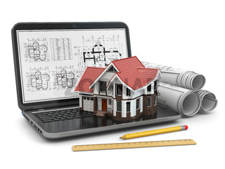 Laptop, house and blueprint with project.