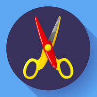 Stationery colored plastic scissors icon, vector illustration.