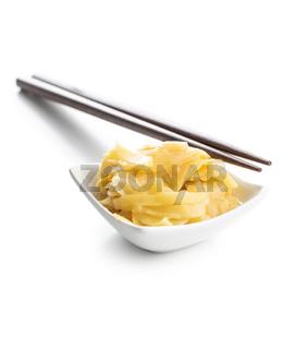 Pickled sushi ginger slices in bowl