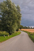 Country road on the holiday island Samsø in Denmark