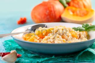Pearl barley and pumpkin risotto.