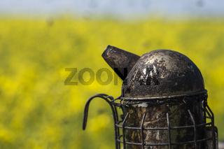Imkerpfeife auf einem Bienenkasten am Rapsfeld