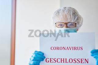 Klinik für Besucher geschlossen wegen Coronavirus