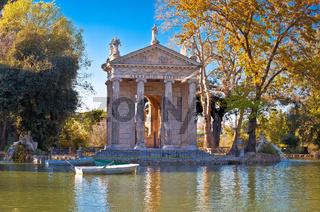 Rome. Laghetto Di Borghese lake and Temple of Asclepius in Rome