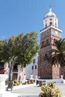 Church tower on Plaza de la Constitucion in Teguise, Lanzarote