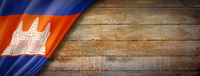 Cambodian flag on vintage wood wall banner