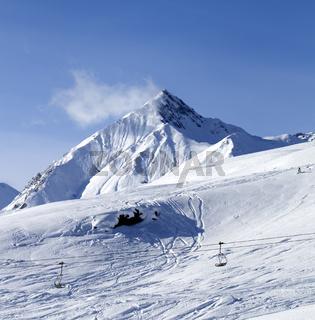 View on off piste ski slope