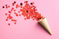 Red hearts and ice cream cone