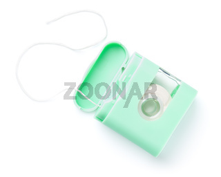 Dental Floss In Green Box Isolated