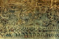 Bas-relief stone carving in Cambodia