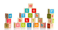 wooden toy cubes with letters. Wooden alphabet blo
