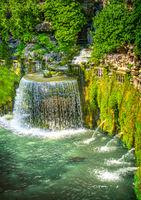 Villa D Este gardens in Tivoli - Oval Fountain or Fontana del Ovato local landmark of Tivoli near Rome - Lazio region - Italy
