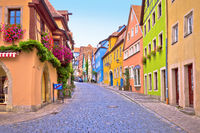 Rothenburg ob der Tauber. Cobbled colorful street and architecture of old town of Rothenburg ob der Tauber,