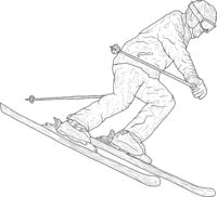Mountain slalom skier silhouette sketch on white background