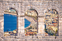 City of Nice and Promenade des Anglais waterfront aerial view through stone windows