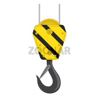 Industrial Hook Icon Isolated on White Background. Construction Crane Logo. Old Lifting Machinary and Steel Rope