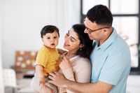 happy family with child at home