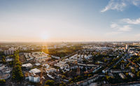 aerial drone shot of the city Cologne, Germany