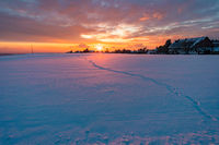Wonderful winter landscape at sunset at northern Lake Constance