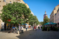 Tourists and residents shopping in the old town of Berlin-Spandau