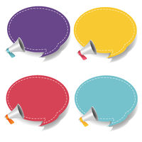 Megaphone With Speech Bubble Isolated White Background Set