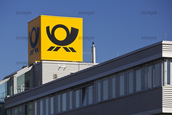Posthorn, logo of the Deutsche Post at the Cologne West Mail Center, Frechen, Germany, Europe