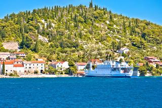 Zadar archipelago. Small island of Osljak ferry port and waterfront view