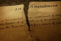The First Amendment of the US Constitution, torn in half