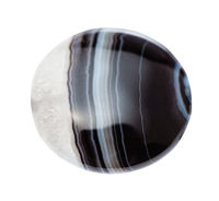 cabochon from striped agate gemstone isolated